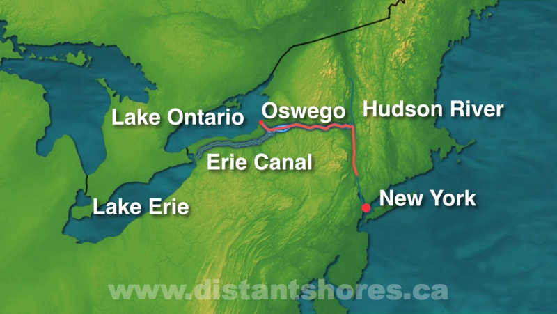 Erie Canal Sailing Videos - Erie canal on map of us